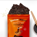 Bag of fusion jerky, opened with chopsticks.